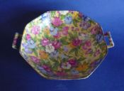 Lovely Art Deco Grimwades Royal Winton 'Sweet Pea' Chintz Two Handled Dish c1936